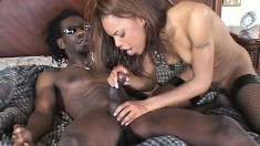 Yellow bone sweetie gets railed down to the balls by a hung nigga