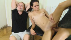 He was caught cheating and now has to watch his girlfriend fuck another cock