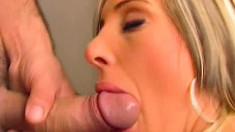 Sultry blonde in black stockings gets holes banged hard by three guys