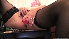 Lustful lady Sandie fucks her snatch with a dildo and finds pleasure