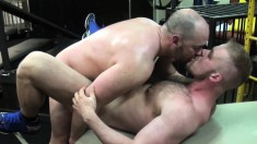 Tyler Reed and Bryan Knight kiss each other and indulge in anal sex