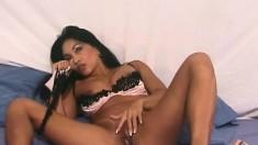 Wonderful Asian cougar with big boobs Tina fucks herself with a dildo