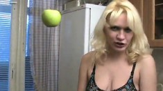 Naughty blonde Ksusha expresses her love for cognac and masturbation