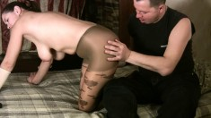 Big breasted chick in pantyhose Tania sucks and fucks Mauricio's dick