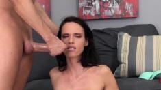 Skinny, big tit Jennifer Dark masturbates, fucks, and gets jizz on her boobs