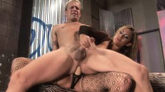Horny dude has a striking girl banging his ass with a strap-on dildo