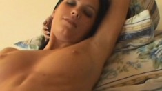 Insatiable brunette wants to get a hot guy to finger her twat