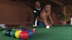 Alonzo F puts his black gay lover on the pool table and bangs his ass
