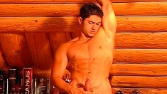 Studly gays are in a vacation cabin jerking off together and watching