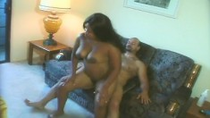 Voluptuous ebony housewife Alexis gets fucked by her man on the couch