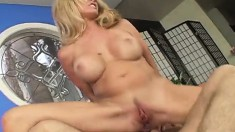 Big breasted mom Angela has a young man's dick making her peach happy