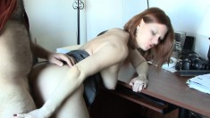 Lustful redhead wife loves to get drilled hard and deep from behind