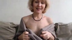 Sexy blonde milf goes solo with a red dildo