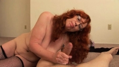 POV amateur redhead hottie giving titjob and tugjob