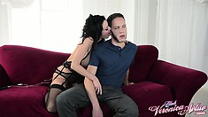 Sexy brunette milf Veronica Avluv plays with her pussy, yearning for wild action