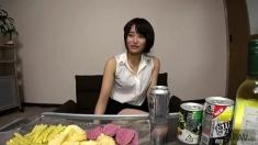 Asian Korean Amateur Riko Playing And Sucking