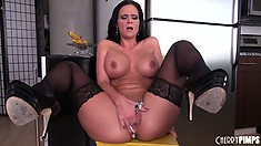 Horny brunette with big boobs Phoenix Marie spreads her legs and pleases her wet cunt