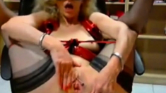 Mature Dildoing And Gaping Her Pussy