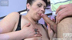 Chubby Euro chick Caroline M opens her stockinged legs to get romped