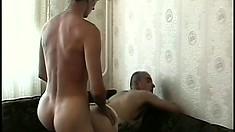 Gay men Tamas and Michal in some hot ass banging wearing fake tits
