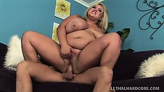 Fat blonde bitch with monstrous tits gets pounded deep and hard