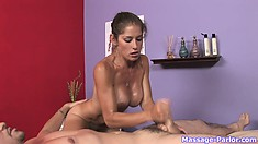 The stunning massage therapist finishes him off using her lips and her hands