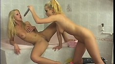 Busty blonde lesbians with perfect asses please each other's twats in the shower