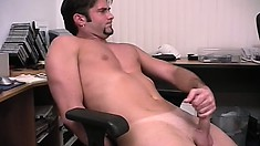 Ripped as hell young man lays back to play with his fine cut dick