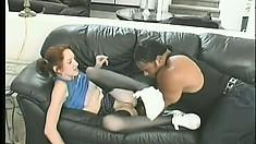 Petite redhead schoolgirl has a black dude punishing her tight pussy