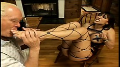Stacked Asian milf Ava Devine has a horny old man licking her sexy feet