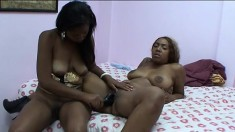Curvy lesbians Deja Vu and Jennifer Jones drink each other's juices