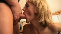 Cock-hungry MILF mounts a hard piston to get her slit pounded